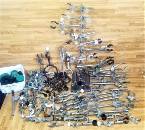 71-pcs Fisher Lab Stand Castaloy & Precision Clamps Ring Beaker Holders HUGE LOT