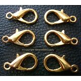 6 Lrg 20mm lobster claw jewelry clasp gold plated necklace bracelet fpc067