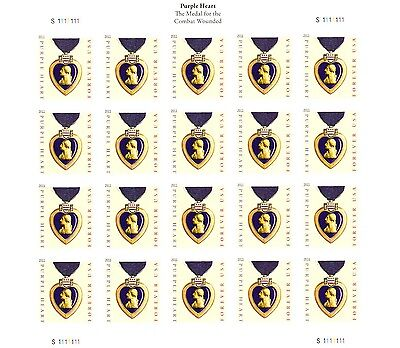 (MILITARY PURPLE HEART MEDAL STAMP SHEET -- USA #4529  FOREVER 2011)