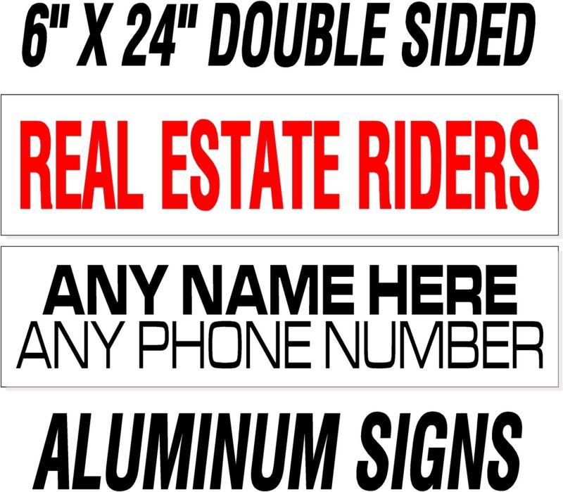 "10 custom Heavy Duty REAL ESTATE realtor rider signs /thick .040"" WHITE ALUMINUM"