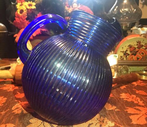 VINTAGE HAZEL ATLAS COBALT BLUE RIBBED BALL PITCHER BEAUTIFUL!!!