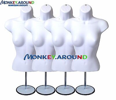 4 Mannequin 4 Hook 4 Stand - White Female Dress Body Form Display Clothing