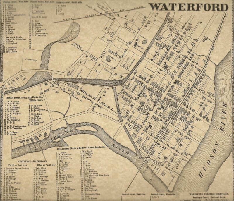 Waterford NY 1866 Maps with Businesses and Homeowners Names Shown