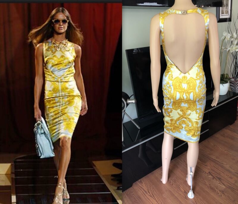 Gianni Versace Runway Ss 2005 Sexy Open Back Dress Gown 40 4 Collectible Item!