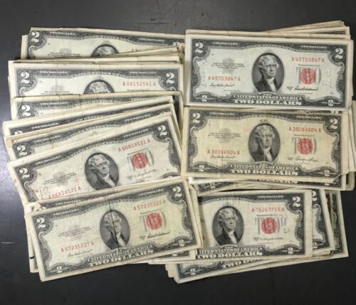 (LOT OF 5) Two Dollar Bill RED Seal Notes Randomly Hand Picked Problem Notes
