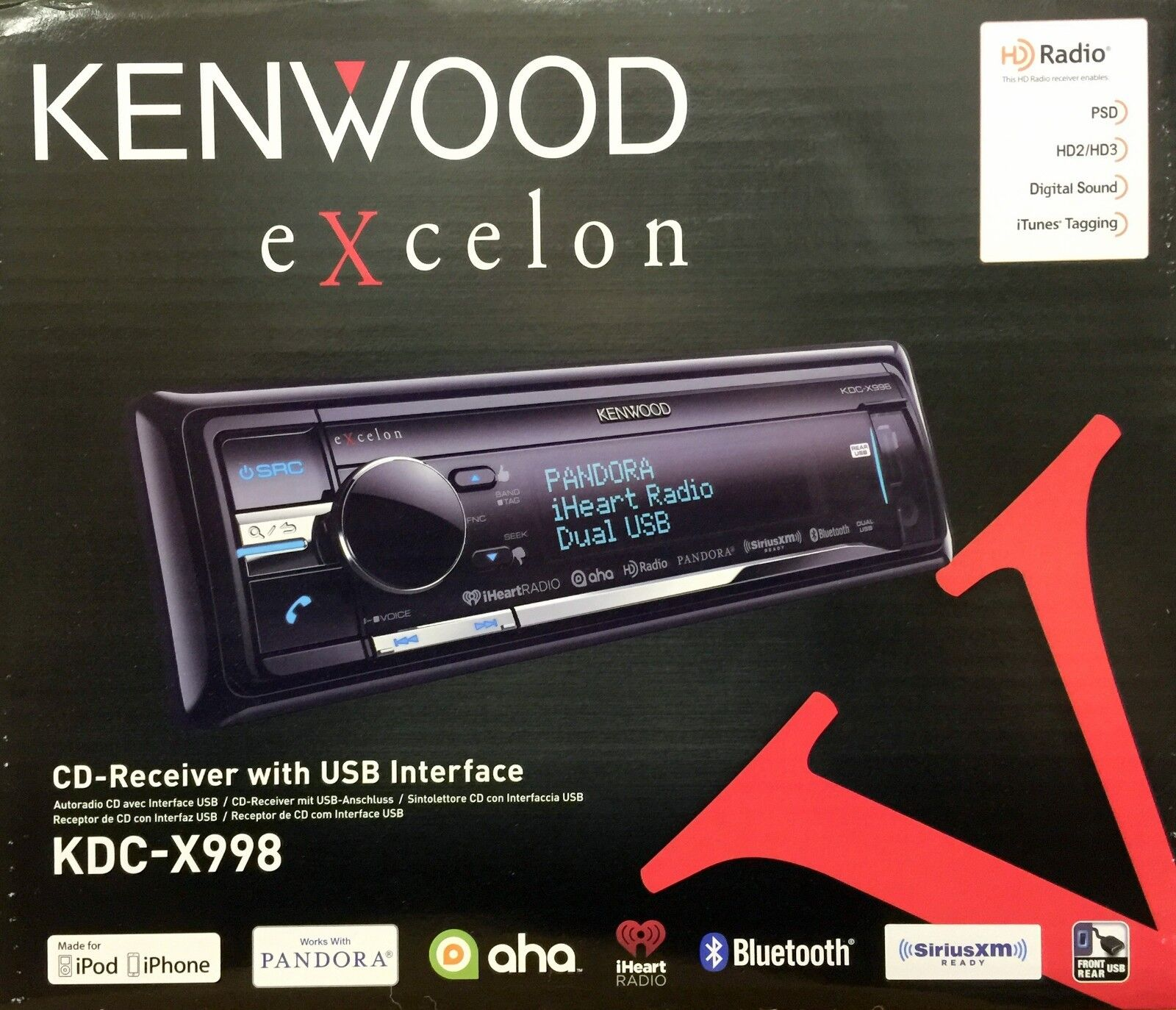 $189.90 - NEW KENWOOD KDC-X998 Single DIN Bluetooth CD/USB/MP3 Receiver With HD Radio