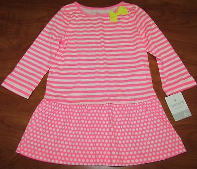 NEW CARTERS GIRLS SHIRT LONG PINK AND WHITE STRIPE DOT WITH YELLOW BOW SZ 6