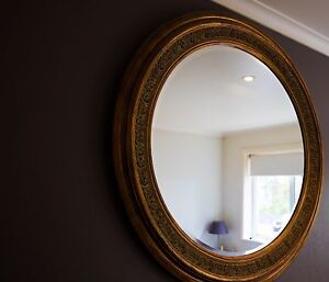 Ornate hand carved wooden mirror with gold finish Petersham Marrickville Area Preview