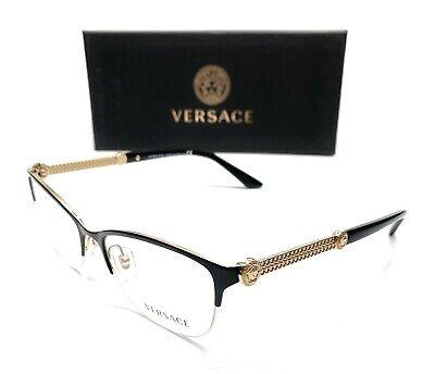 Versace VE1228 1291 Black/Gold Women's Cat Eye Demo Lens Eyeglasses Frame 53-17