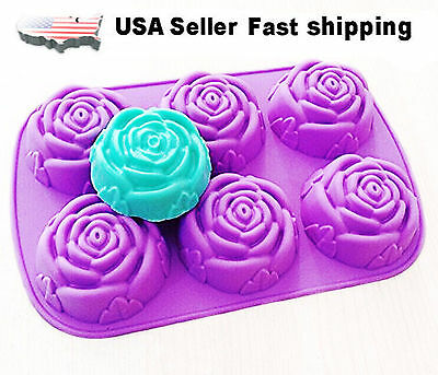 6 Cavity Rose Shaped DIY Handmade Soap Mold Silicone Mold Soap Making US Seller