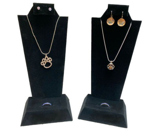 """TWO Black Velvet Necklace Pendant Earring Ring Combo Display Stands Displays 9"""""""