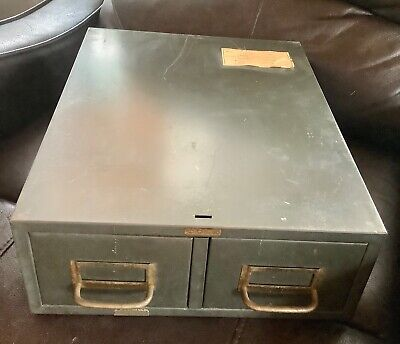 Vtg Cole Steel Co File Filing Cabinet Box Chest 2 Drawer Industrial Usa