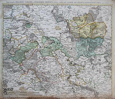 Euler: Altkol. Kupferstich Landkarte Fürstentum Anhalt Halle Magdeburg; 1753