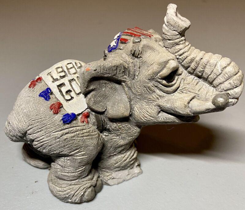 "1984 Republican 5"" Elephant Figurine GOP Ronald Reagan George Bush Signed Miller"