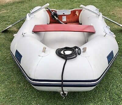 Seago 270 inflatable dinghy pump oars keel floor bulge pump transom snap davits