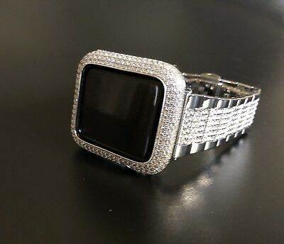 (Apple Watch Band 44mm Series 4 Silver Rhinestone Case Cover Bezel Lab Diamond)