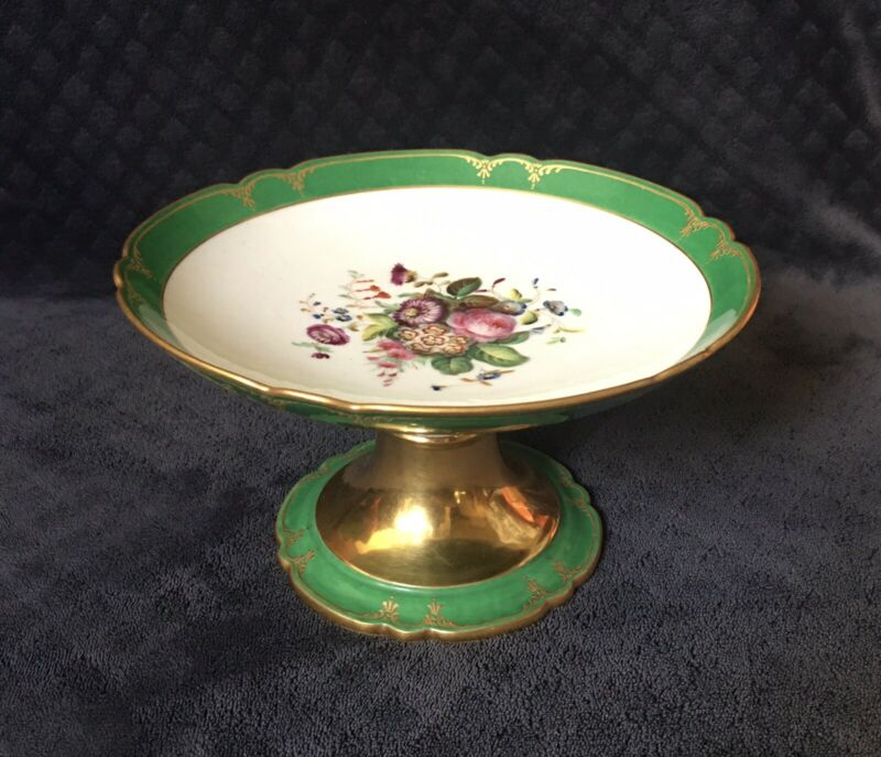 Antique Sevres Style Old Paris Gold Encrusted Floral Boquet Footed Compote