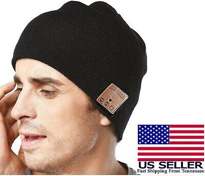 Bluetooth Beanie Hat with Headphones & Microphone Knit Cap Rechargable Unisex