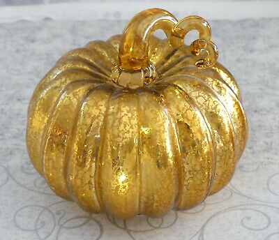"""Glass Home Decor Pumpkin, 6.5"""" Battery Operated Lighted Orange/Gold"""