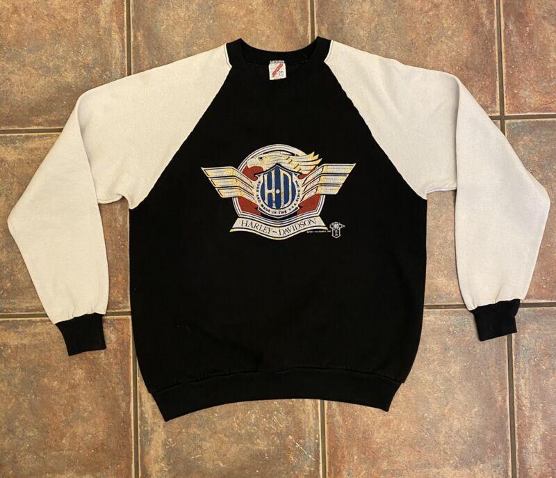 Vintage 1987 Born In The USA Harley Davidson Eagle Sweatshirt Jerzees Sz Large L