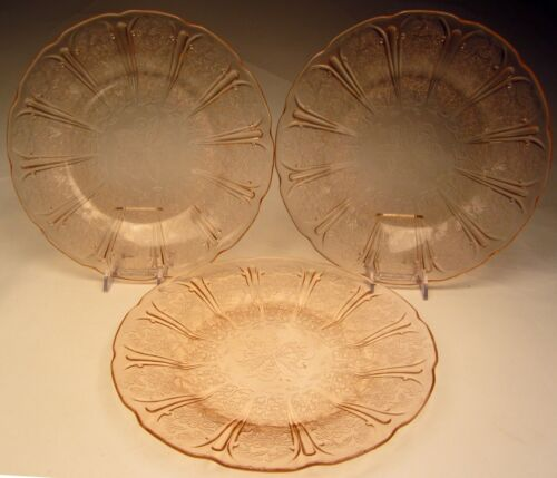 "Vintage Pink Cherry Blossom 3 Dinner Plates 9"" by Jeannette Glass Co. 1930-39"