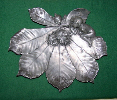 "Fine Art, Sculptured Pewter Dish, Signed ""Joseph Cheret"" , France"