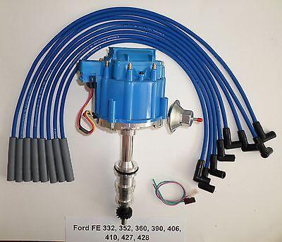 Blue Plug Wires - FORD FE HEI Distributor 332,352,360,390,406,427,428 + BLUE Spark Plug wires USA
