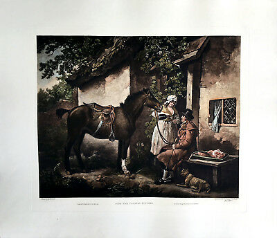 The Country Butcher - artist: Morland, Vintage Color Engraving, - Colored Butcher Paper