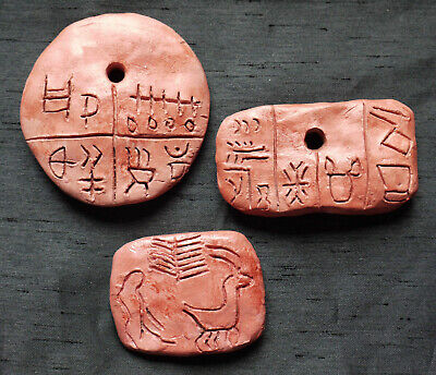 Neolithic TARTARIA TABLETS replica shaman amulets 5300BC Vinca Danube Old Europe