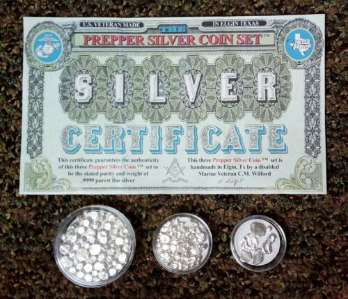 L@@k! .9999 Purest Fine Silver In A 3 Coin Set Barter Bullion Prepper Investment