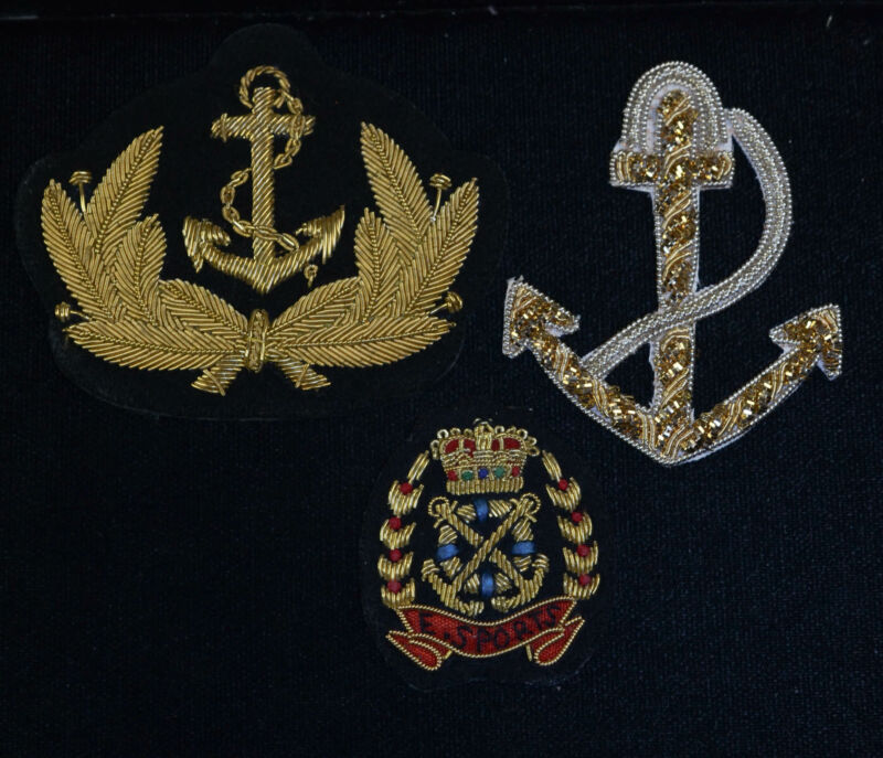 Great Britain British Royal Navy Patch Embroidered Badge Beautiful lot of 3