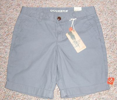 DOCKERS Gray Boyfriend Roll Me Up Long Bermuda Casual Shorts Cuffs Size 6 NWT (Cuff Me Up)