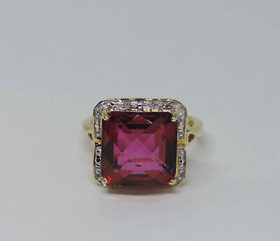 Man-Made Square Pink Sapphire Gemstone Solitaire Ring w/ 8 Dia.- 14K Yellow Gold
