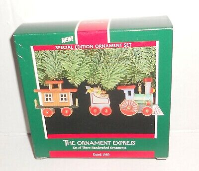 Hallmark Christmas Ornament 3-pc Set Ornament Express Train MIB 1989