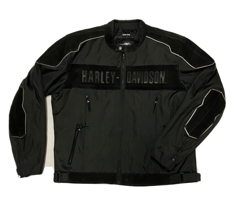 Harley-Davidson Motorcycles Riding Gear Black Woven & Suede Jacket Mens 2XL