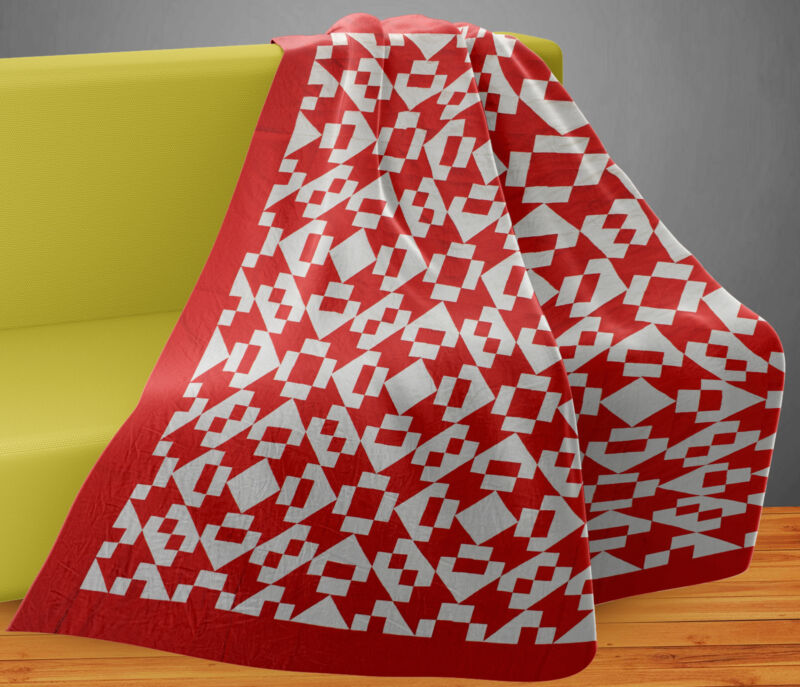 Unusual Red & White Hour Glass, Chain variation- Graphic QUILT TOP -