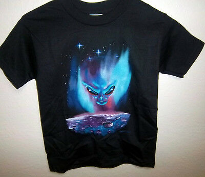 - Colorful Alien print on a black T-shirt, 50% cotton poly, Youth size small