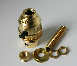 Brass switched lamp holder Kit BC fitting c/w 10mm threaded rod  adaptor an nuts