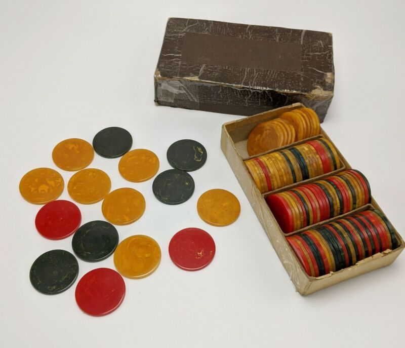 Set of 102 Bakelite Catalin Poker Chips Butterscotch Red Dark Green