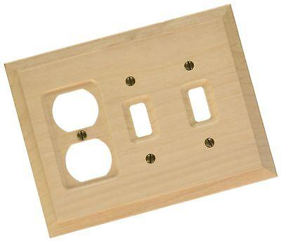 Amerelle 180TTD Baker Unfinished Alder Wood 2 Toggle 1 Duplex Wall Plate
