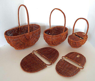 VINTAGE NESTING BASKETS Set Brown Woven Wicker Picnic Sewing 3 Piece Estate Lot - Picnic Baskets Wholesale