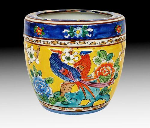 MORIYAMA MORI-MACHI Antique Vase Porcelain Hand Painted Birds Flowers 1920