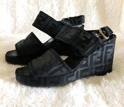 Vintage Fendi Zucca Black Wedge Sandals Heels Size 35.5 36 5.5 6