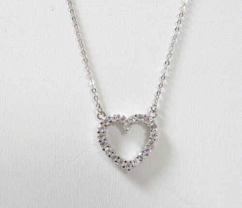 Rhodium Plated Sterling Silver Cubic Zirconia Heart Pendant Chain Necklace