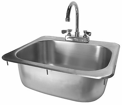 Stainless Steel Drop In Hand Sink 16x15 W New Lever Handle Faucet Etl Hs-1615ih