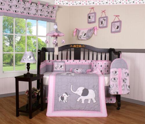 GEENNY 14PCS Elephant Baby Nursery CRIB BEDDING SET - Including Lamp SHADE