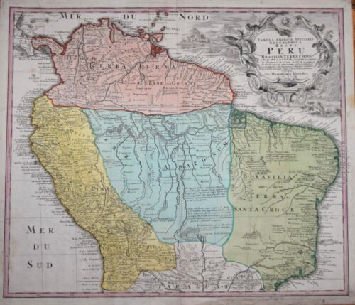 PERU BY THE HEIRS OF HOMANN, PUBLISHED CIRCA 1730.