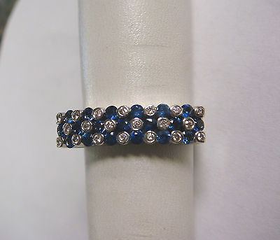 BEAUTIFUL 14KT WHITE GOLD SAPPHIRE DIAMOND RING BAND ZEN