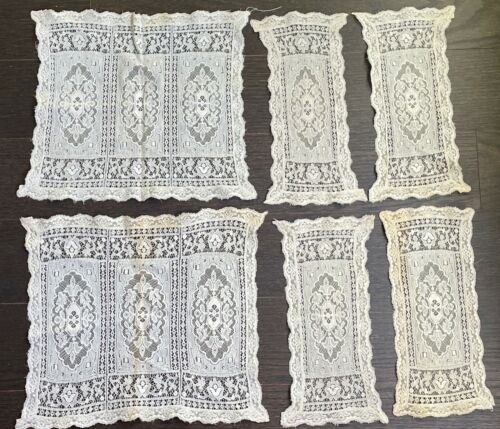 Antique Vintage Gorgeous Lace Napkins Embroidered Unusual Piece!