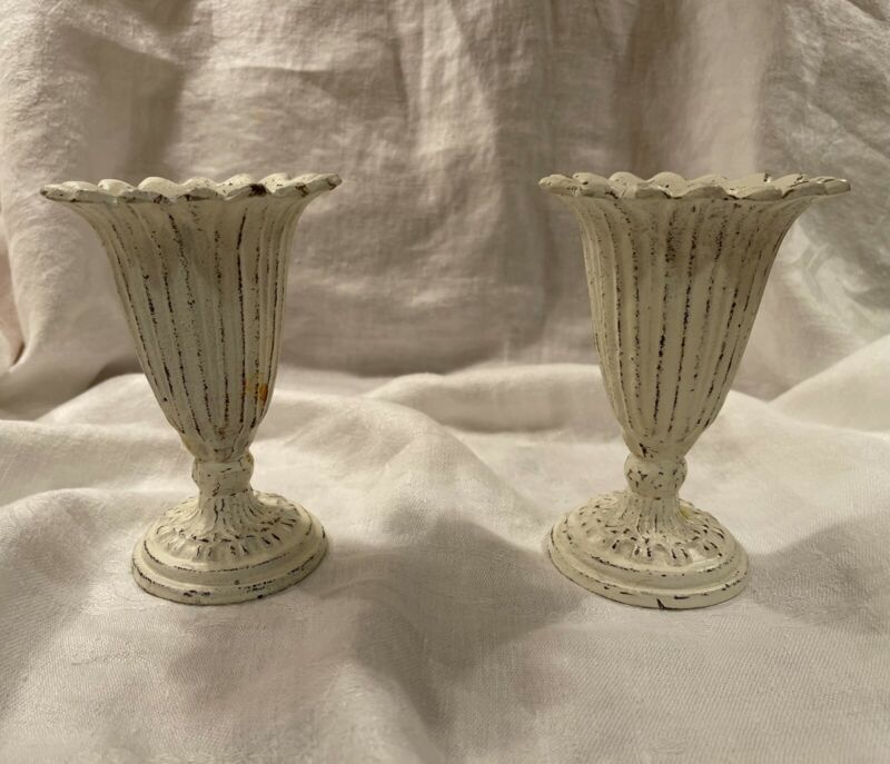 """Heavy Metal Shabby Chic Vase Urn Chalk Paint Look Set Of Two 5"""" Tall"""